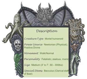 Acolyte of Bael Descption Chart