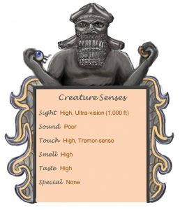 Dark Vinegaroon Senses Chart